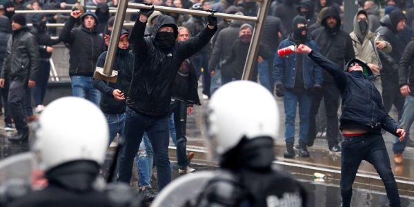 بلجيكا. شعلات بين المتظاهرين والبوليس فبروكسيل بسباب ميثاق مراكش – صور