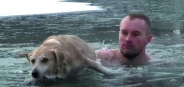 صحافي تلاح وسط بحيرة مكَلاصية باش يعتق كلب غرق فيها – فيديو