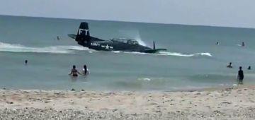 الناس تخلعات.. طيارة حربية نزلات فشاطئ فلوريدا – فيديو