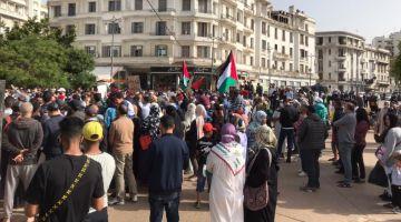 شعارات قوية للتضامن مع فلسطين بساحة مارشال ف كازا – تصاور