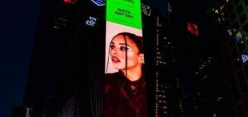 المغنية المغربية غيثة النطاح ماقاداها فرحة من بعد ما دارو ليها لوحة إشهارية عملاقة فنيويورك: كنشكركم على ثقتكم فيا وففني