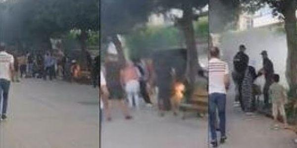 احتجاجات ف تونس وشخص شعل العافية فراسو وسط العاصمة – فيديو