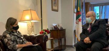 """وكيقولو ماشي طرف.. وزير خارجية عسكر الدزاير """"لعمامرة"""" هضر على ملف الصحرا مع وكيلة شؤون الخارجية الميريكانية"""