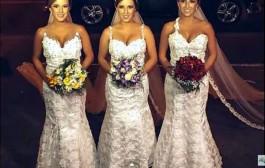 كيفاش كل راجل يعرف مراتو؟. ثلاث توائم برازيليات يتزوجن في ليلة واحدة + صور