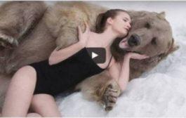 بالفيديو. جوج عارضات أزياء روسيات كيخاطرو بحياتهوم مع دب في جلسة تصوير